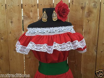 Mexican Blouse Red Adelita On/Off Shoulder w/Small Red Sash. Blusa Adelita Roja