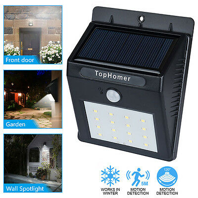 Solar Powered Bright 16 LED Wireless PIR Motion Sensor Security Shed Wall Light