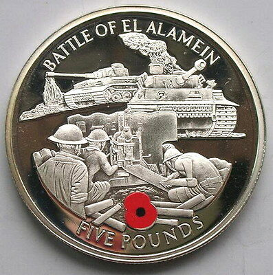 Gibraltar 2004 Battle of Alamein 5 Pounds Silver Coin,Proof