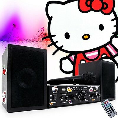 Kinder Karaoke Set Stereo Boxen Verstärker Anlage Bluetooth Hello Kitty Sticker