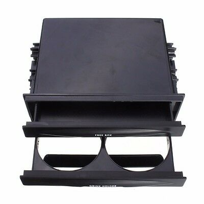 Universal Car Dash Trim Double Din Radio Pocket Kit Drink Cup Holder Storage Box