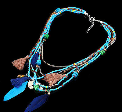 Pendants Collares Statement Jewelry Feather Necklaces Gifts Chain Women Beads