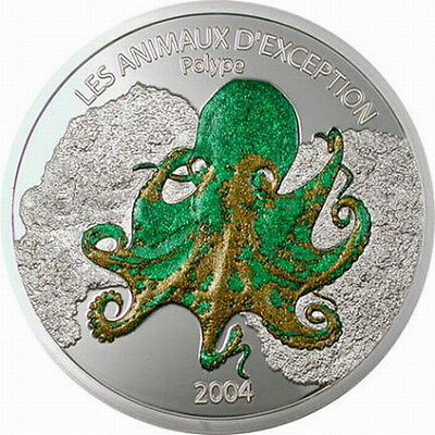 Congo 2004 Octopus 5 Francs Colour Coin,Prooflike