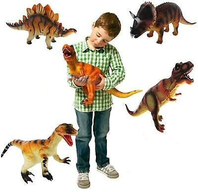 Set of 6 Large 36cm Soft Foam Rubber Stuffed Dinosaurs Play Toy Animals Figures