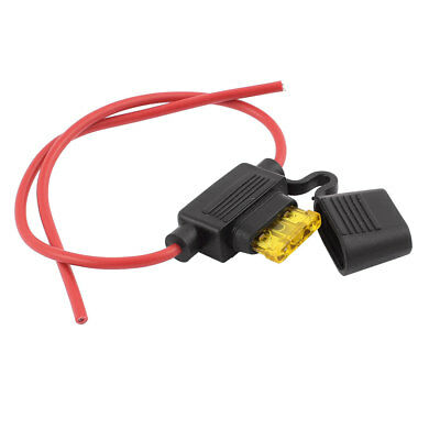 In-line 20A Car Fuse Holder Splash Proof Container Wire Lead w Fuse