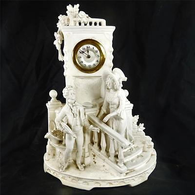 Antique Continental Bisque Biscuit Porcelain Figure Clock Blanc De Chine