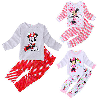 Cotton Minnie Mouse Nightwear Kids Baby Girl Pajamas Set Clothes Size 2-3-4-6T