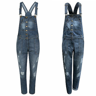 Women Ladies Full Denim Dungaree Braces Stretchable Skinny Fit Jumpsuit  Omnia