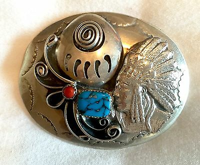 Vintage Native American Silver, Turquoise & Coral Belt Buckle
