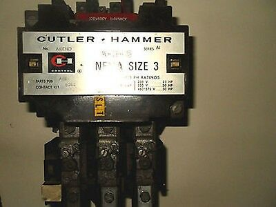 (Q1-1) 1 Cutler Hammer A10Eno Starter 90Amp Size3 3Pole W/overload Block