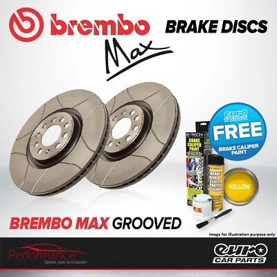 Brembo Max Front Vented High Carbon Grooved Brake Disc Pair Discs x2 09.8635.75