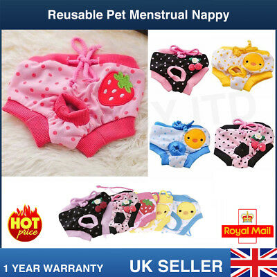 Reuseable Female Pet Dog Pants Bitch Menstrual Sanitary Nappy Diaper Pads S-L