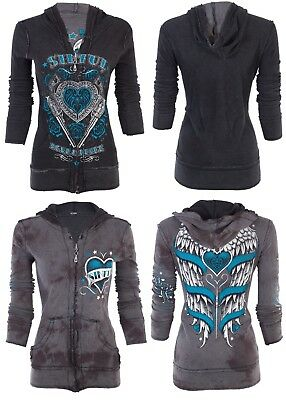 Sinful AFFLICTION Women REVERSIBLE Hoodie Jacket LOVE BANDIT Wings Biker UFC $74