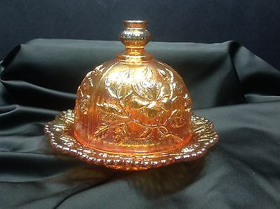 Vintage Imperial Glass Marigold Carnival Rose Domed 2PC Butter Dish