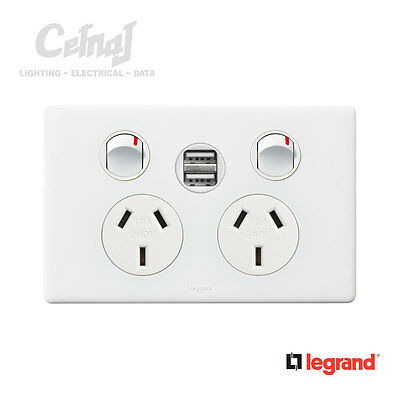NEW Excel Life Double Power Point with USB Sockets - White Lighting Electrical
