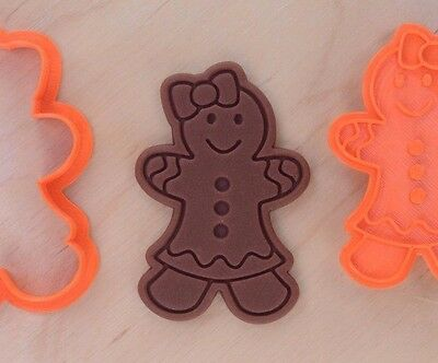 Gingerbread Girl Cookie Cutter and Stamp Set - 3d printed plastic