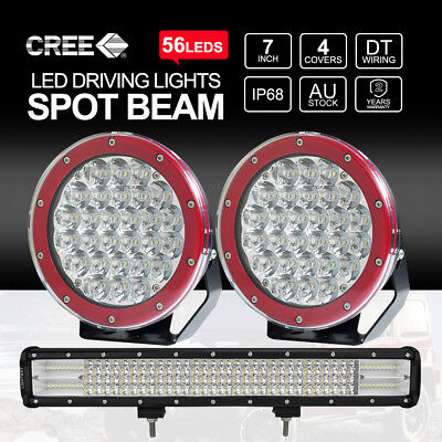 "7 inch 1400W CREE LED Driving Lights + 20"" 294W Spot Flood Combo Work Light Bar"