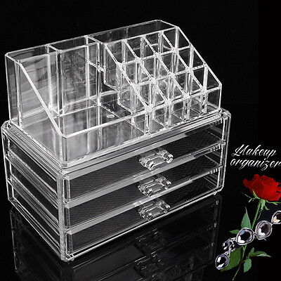 New Cosmetic Makeup Organizer 3 Drawer Storage Jewelry Box Clear Acrylic Holder