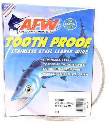 240lb AFW TOOTH PROOF SINGLE STRAND STAINLESS STEEL LEADER FISHING WIRE TRACE BR