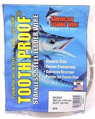 360lb AFW TOOTH PROOF SINGLE STRAND STAINLESS STEEL LEADER FISHING WIRE TRACE CA