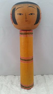 Traditional Vintage Yajiro (?) Yellow Kokeshi Japanese Wood Good Condition #D
