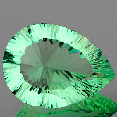 IF~11.67CT PEAR 18x13MM CONCAVE CUT GREEN FLUORITE 100% NATURAL LOOSE GEMSTONES