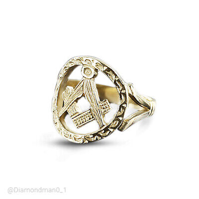 9ct Yellow Gold Square and Compass Masonic Ring