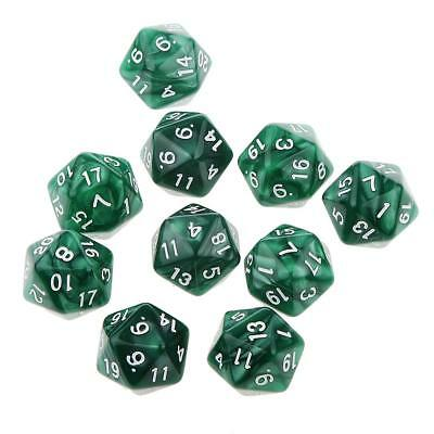 10pcs Twenty Sided Dice D20 Playing Dungeons & Dragons D&D TRPG Games Green