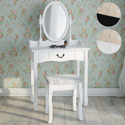 Makeup Dressing Table Set w/ Stool Drawer & Oval Mirror Jewellery Desk Bedroom