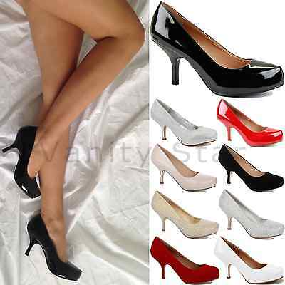 Womens Ladies Low Mid High Kitten Heels Work Office Prom Court Shoes Pumps Size