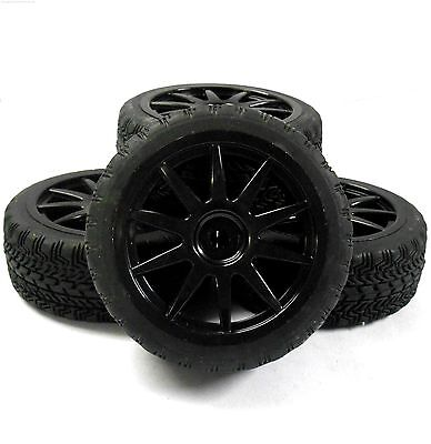 A20093 1/10 On Road Soft Tread Car RC Wheels and Tyres 10 Spoke Black x 4