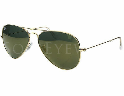 NEW Ray Ban 3025 W3276 58mm Aviator Gold Sunglasses