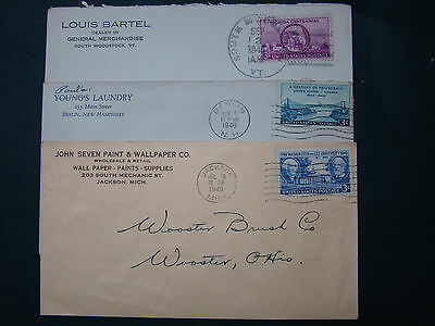 Us Covers- 3 Advertising Covers -1945/48/49