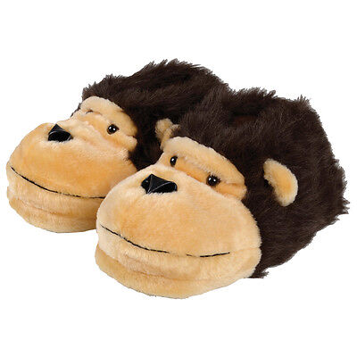 Mens Monkey Face Slippers Warm Fluffy Fun Novelty Slippers Sizes 7,8,9,10,11,12