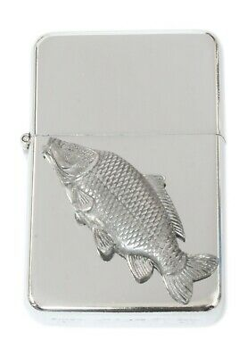 Common Carp Emblem Windproof Petrol Lighter FREE ENGRAVING Personalised Gift 80