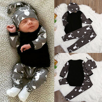 Children Kids Baby Girl Boy Top Romper+Deer Pants Leggings Outfits Set Clothes