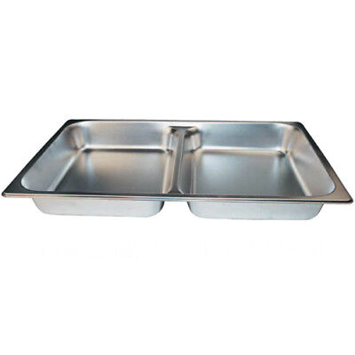 "Winco SPFD2 S/S Divided Full-Size Steam Table Pan - 2-1/2"" Deep"
