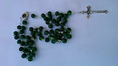 Beautiful Green Glass Beads Rosary Catholic Necklace Holy Soil Medal Crucifix