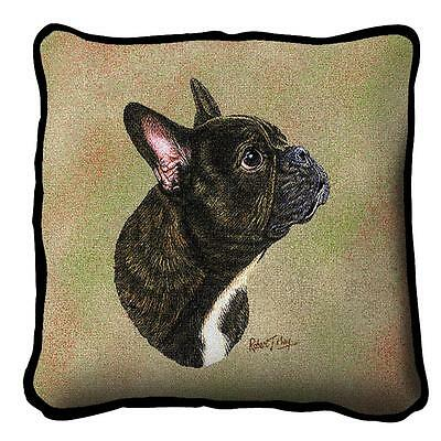 "French Bulldog Frenchie Dog Pillow Pure Country Weavers 17"" x 17""  100% Cotton"