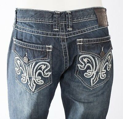 XTREME COUTURE by AFFLICTION Mens Denim Jean DOUBLE FLEUR White Embroidered   79 d13a97caa