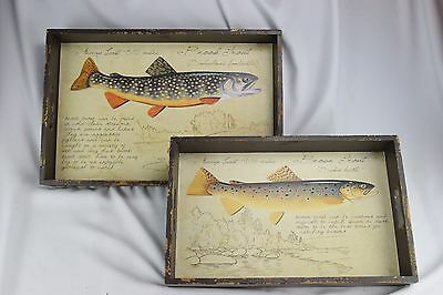 2 Brook / Brown Trout Wooden Serving Trays VINTAGE STYLE Cabin Matt Patterson