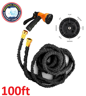 Magic Snake Hose 100Ft Expandable Flexible Garden Hose Pipe Black Grade A 33M