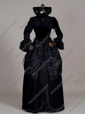 Victorian Gothic Queen High Collar Dress Gown Steampunk Women Costume 331