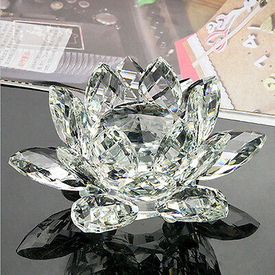 100mm Clear Quartz Crystal Glass Lotus Flower Sphere Crystals With Gift Box