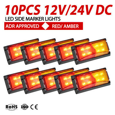 10x LED Clearance Lights Side Marker RED AMBER Indicator Trailer Truck 12V 24V