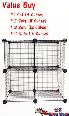 Value Bulk Buy Sets of Wire Cube Storage Stacking Rack Shelves Organizer 1033 OZ