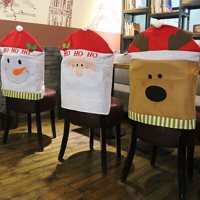 Christmas Santa Claus Chair Back Cover Elk Snowman Hat Dinner Table Party Xmas