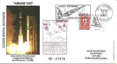 Timbre FDC Cosmos Sports d'hiver JO Ariane V42 lot 15135