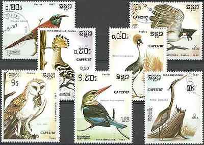 Timbres Oiseaux Kampuchéa 737/43 o lot 15152