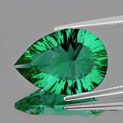 IF~29.04CT PEAR 26x19MM CONCAVE CUT EMERALD GREEN FLUORITE 100% NATURAL